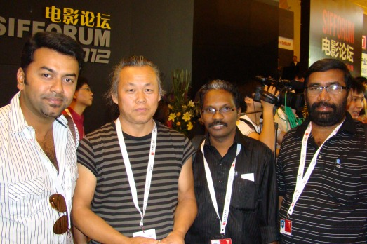 Dr.Biju, Indrajith and producer Anil Kumar  with South Korean film maker Kim Ki-duk